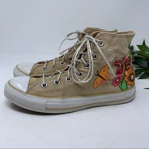 Converse Tan High Top Sneaker Floral Butterfly 8